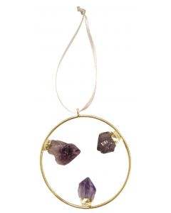 Genuine Amethyst Hoop Ornament