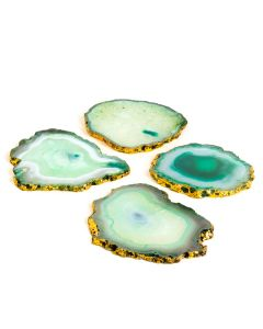 Aqua Agate Gold Trim Coaster Set