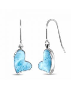 Larimar Floating Heart Earrings